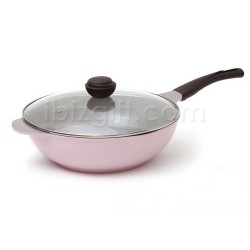 Korea Chef Topf La Rose Wok 32cm with Glass Lid