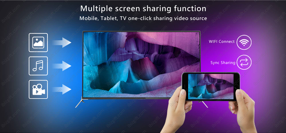 Boss TV V3 Set-top Box Support Multiple screen sharing function Mobile, Tablet, TV one-click sharing video source