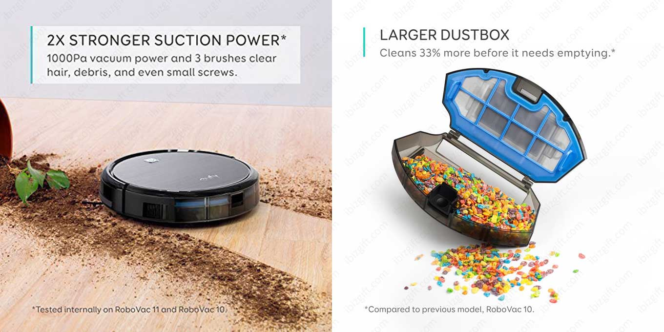 2X STRONGER SUCTION POWER. 1000Pa vacuum power and 3 brushes clear hair, debris, and even small screws. LARGER DUSTBOX. Cleans 33% more before it needs emptying.
