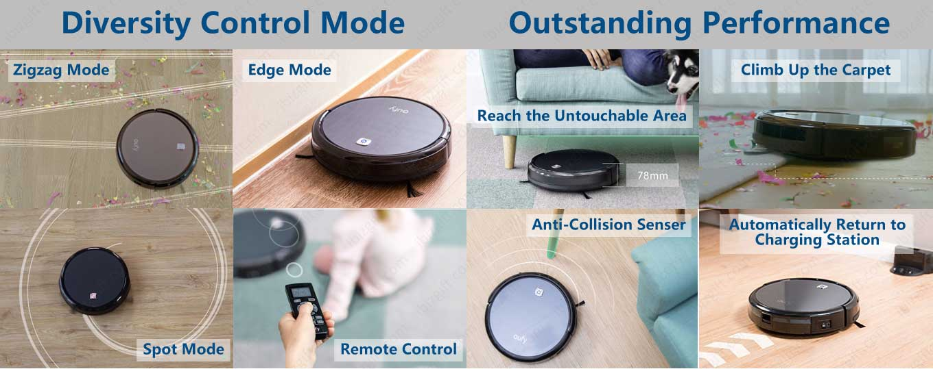 Diversity Control Model. Zigzag mode, Edge Mode, Spot Mode, Remote control. Outstanding performance. Reach the Untouchable Area; Climb Up the Carpet, Anti-Collision Senser; Automatically Return to Charging Station.